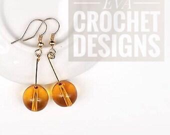 Amber, Hoop Earrings, Daily Jewelry, Anniversary Handmade Gift, Simple Earrings, Yellow Earrings, Good Luck