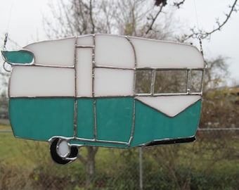 Stained glass Trailer, Classic Trailer, Vintage Trailer, RV accessories, Camping decor