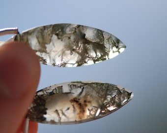 Moss Agate Pendant Earring Pair, faceted translucent grey and green, 32 x 12mm, marquise shape, C4366