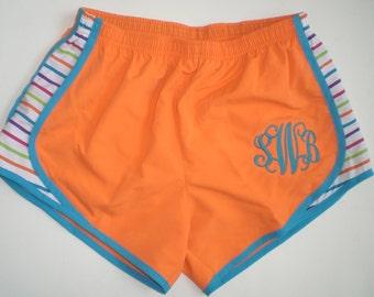 Monogrammed Running Shorts, Personalized Shorts Neon Orange Youth Shorts, Adult Shorts, SALE