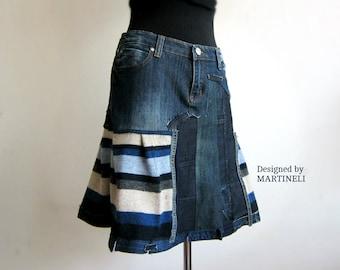 RESERVED M/L Blue Denim Recycled Skirt Boho Chic Skirt Recycled  Denim Recycled Patchwork Skirt Patchwork Denim Striped Skirt Boho Skirt