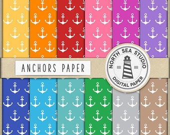 SAILORS | Anchors Digital Paper Pack | Anchors Paper | Printable Backgrounds | 12 JPG, 300dpi Files | BUY5FOR8
