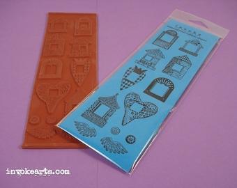 Mini Frames / Invoke Arts Collage Rubber Stamps / Unmounted Stamp Set