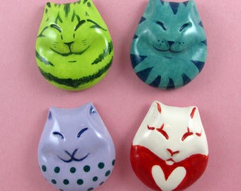 4 Cat Fantasy Magnets-Ceramic crafts