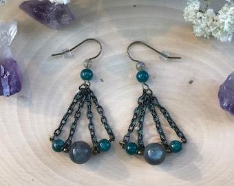 Labradorite and Apatite Gemstone Earrings