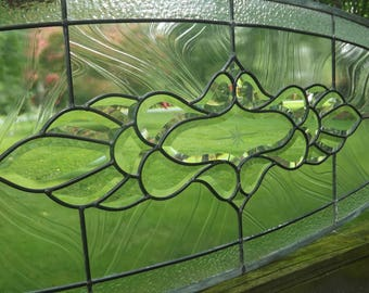 Vintage Stained Glass Window Beveled  Leaded Clear Oval Transom or Sidelight