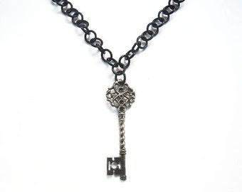Black key necklace,  Gothic jewelry, Skeleton key necklace, Key on long chain