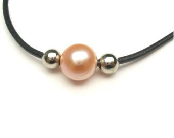 Freshwater Orange Pearl Surfer Leather Necklace   - S077