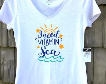 I Need Vitamin C - 100 percent cotton t-shirt - Funny Clever Witty Shirt - 100 percent cotton T - Women Girls Teen -Beachwear Summertime
