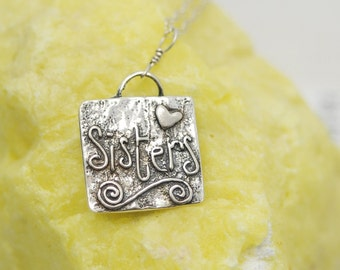 Sister Necklace Silver / Sister Gift / Big Sister Gift / Little Sister Gift / Soul Sister / Sisters Gift / Sisters Charm / Gifts for Sister