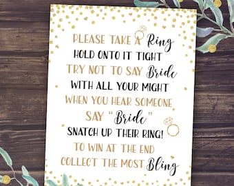 Bridal Shower Game Don't Say Bride, Wedding Shower Ring Game, Printable Sign, Bachelorette Party Activity, Gold Confetti, Take a Bling