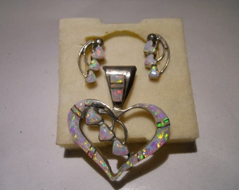 Sterling silver Opal Mosaic heart pendant and earring set