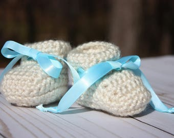 Haferflocken neugeborenes Baby Booties - Haferflocken Gehäkelte Schühchen - Baby Boy Booties-