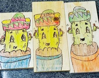 Wood Burnt Fiesta Cactus