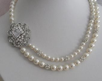 Bride bridesmaid Rhinestone brooch Pearl Bridal Necklace multi strands - Bridal Jewelry - Bridal Accessories - Wedding Jewelry
