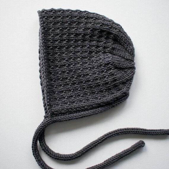 Bracken Bonnet in Charcoal Merino Wool - Sizes Newborn to 24 months - Pre-Order
