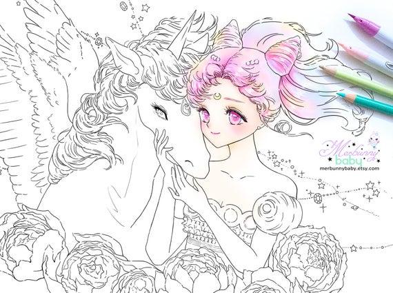 Chibiusa und Helios Malvorlagen süße Anime Manga Mädchen