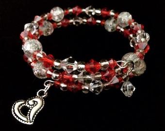 Red heart memory coil bracelet