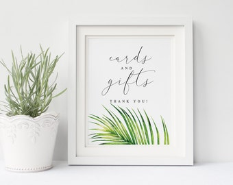 Printable wedding cards and gifts sign, Wedding cards and gifts sign, tropical leaves palm hawaii cards and gifts sign, The Aura collection