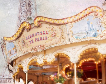 Paris Photography - Carousel at the Eiffel Tower, Nostalgic, Vintage Nursery Decor, Large Wall Art