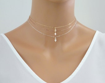 Tiny Cross Necklace, Delicate Gold Cross Choker, Communion Gift, baptism  Necklace, Confirmation Gift, Sterling  Silver, Rose Gold