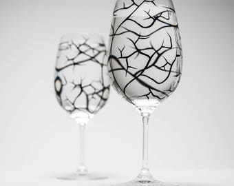 Winter Tree Branch Wine Glasses - Set of 2 hand painted wine glasses, Bare Branches, bare tree branches, painted glassware, black trees