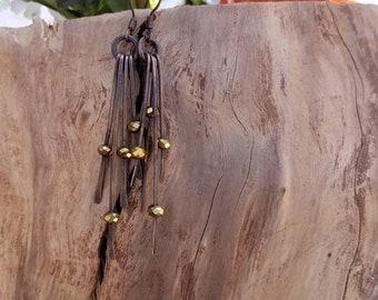 Rustic Copper and Swarovski Crystal Drop Earrings