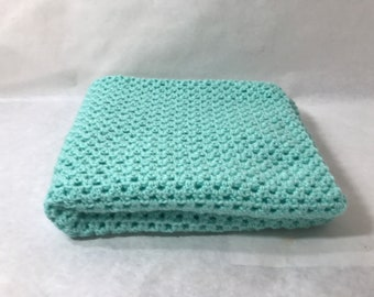 Lap Blanket, Office chair throw, Wheelchair lap cover, Couch throw, Crocheted, Pale Blue color, Home decor