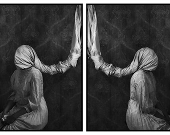 Sisters In Silence - FREE SHIPPING Surreal Photo Print Dark Art Black & White Image Creepy Portrait Fabric Wrapped Heads Hanging Gray Poster
