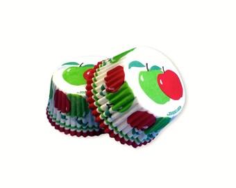 Apple Cupcake Baking Liners, Greaseproof Paper, Baking Supplies, Cake Decorating, 32 pcs