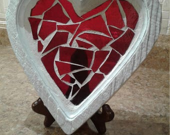 Stained glass mosaic, red heart mosaic, heart mosaic