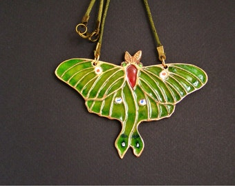 Luna moth pendant, Twighlight moth bronze necklace, Indian moon moth, Glass enamel bug, Green insect statement charm, Saturniidae saturniids