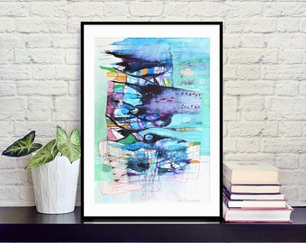 Original abstract painting, mixed media art, modern art, navy blue, mint, black, white, bright orange, blue painting 30x42 cm (app.12x17')