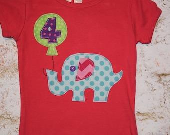 Girls sz 4 *REaDY To SHiP*  #4 year old ELEPHANT BIrTHdAY BALLOON   applique tee