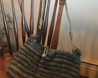 Green Striped Felted Purse