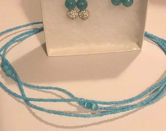 Sea Blue Earrings and Necklace Set