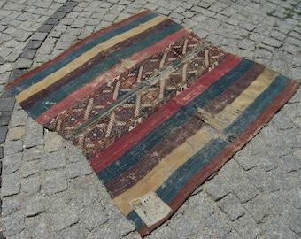 1880's Vegetable Dye Turkish  Anatolian   Collectible Fragment Kilim  Rug 46'' X 53,1''inches