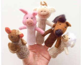 Farm animals finger wool of farm animals/puppets-puppets, made by hand knit and felted wool
