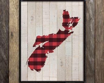 Nova Scotia Map Art Print, Halifax Nova Scotia Wall Art, Cape Breton Map, Canada Province Art Print, Made in Canada Wall Decor, Canadiana