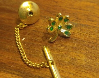 SALE! Gold Clover with Green Rhinestones Tie Tack (was 5.00)