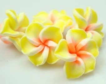5 Piece Handmade Yellow, Orange Clay Flower Bead Cabochons - Kawaii Decoden Flatback (TDK-C1556)