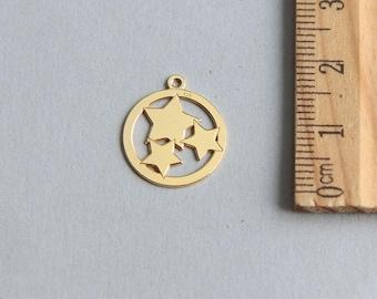 SALE, Star Charm, Gold Star Charm, Gold plated Star Charm, Christmas Star, Tiny Star, Three Stars Charm, Gold Star Pendant, 13mm (1 piece)
