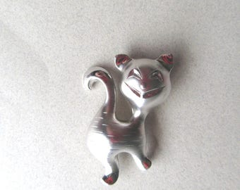 Wells Sterling Silver Happy Cat Brooch Pin Cats Cheshire Feline Figural Signed Fine Jewelry Vet Gift 5.1 Grams Feline Kitty MoonlightMartini