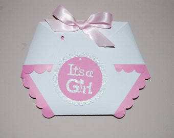 Diaper Baby Girl Shower Invitation