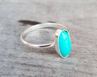 Lovely Oval Turquoise Stacking Ring ~ Custom Sized ~ Bohemian Minimalist Silver Stacker