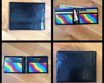 Black and Rainbow Duct Tape Wallet