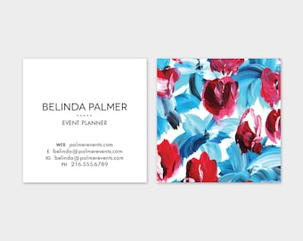 Blue + Red Floral  Calling Cards | Business Cards | Blogger Cards | Set (50)