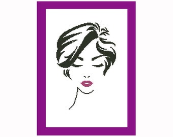 Unique Woman Cross Stitch Pattern - Two Colors Xstitch - Modern Lady Pdf - Monochrome Chart - Counted Crossstitch Design - Easy Cool Ideas