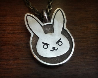 Overwatch D. Va Bunny 3D Printed Stainless Steel Pendant