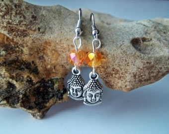 Buddha Earrings with Faceted Citrine Glass Beads - Zen Drop Earrings - Yellow and Silver Charm Dangle Earrings - Yoga Gift